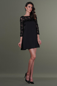 Hand Embroidered Lace Sleeves Dress