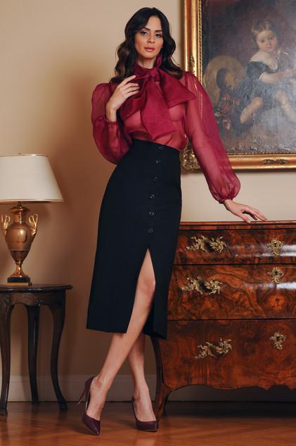 Silk Organza Blouse and Cady Midi Skirt