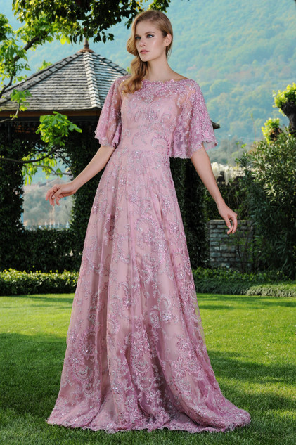 Embroidered Long Lace Dress