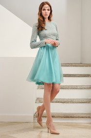 Long Sleeve Embroidered Lace Body and Organza Silk Full Skirt