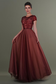 Hand Embroidered Long Tulle Dress