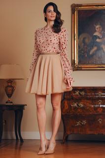 Long Sleeve Polka Dot Tulle Blouse and Tulle Short Skirt