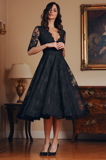V Neck Lace Dress with Sleeves
