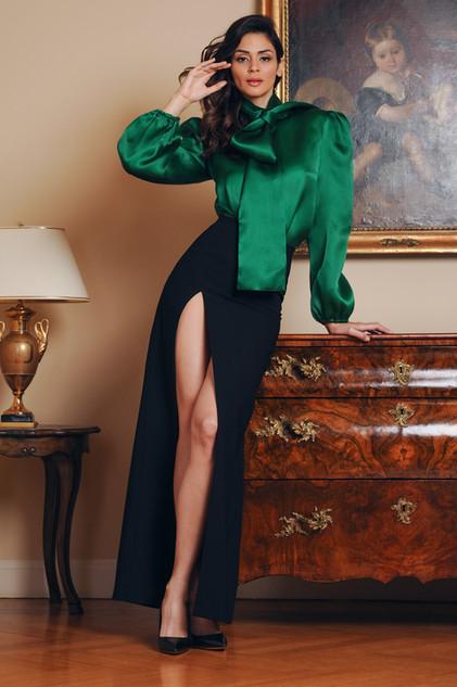 Silk Organza Blouse and Cady Long Skirt