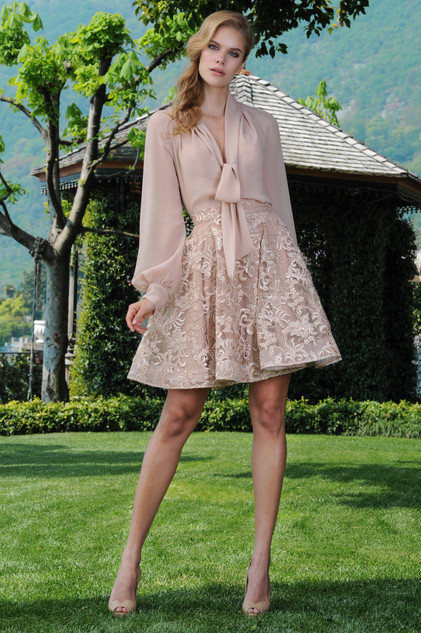 Crepe di Chine Blouse and Flaire Lace Skirt