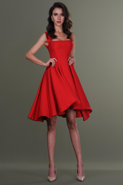 Court Neck Crepe Dress