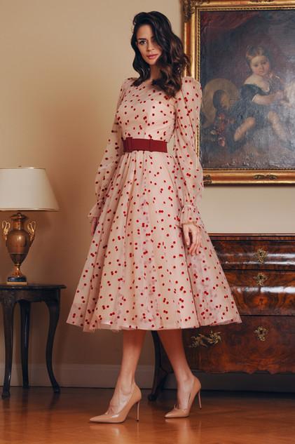 Strapless Midi Length Dress and Polka Dot Midi Tulle Dress