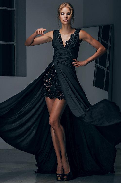 Lace Draped Long Dress