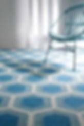 Modern rug, Hive design, Light blue color,Wool rug, Flat weave rug