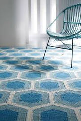 Modern rug, Hive design, Light blue color,Wool rug, Flat weave rug