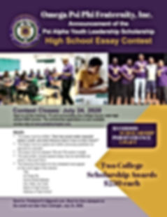 Youth Leadership Scholarship Flyer 2020.