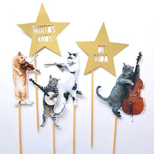 Topo de Bolo Quarteto de Gatos