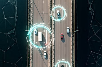 Aerial view of self driving autopilot ca