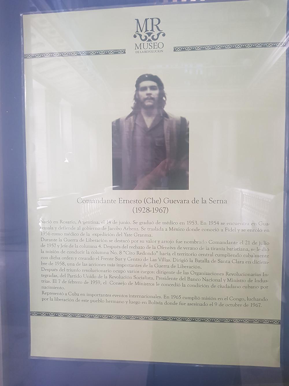 Biografia de Che Gevara no Museu da Revolução