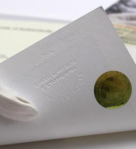 Certificat d'authenticité sur papier ceertifié Hanhemuehle