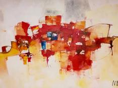 Acrilico, acquerello e pastello su tela cm 80x120