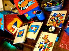 Agende/blocknotes e casette in legno dipinte ad acrilico