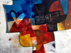 Acrilico, acquerello e pastello su tela cm 100x120