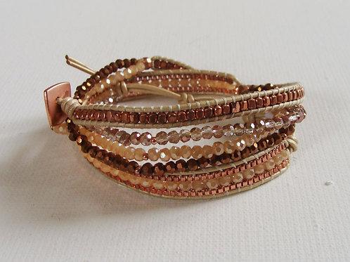 Bracelet 3 tours marron
