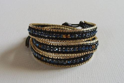 Bracelet 3 tours bleu et doré