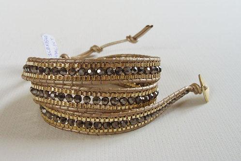 Bracelet 3 tours gris et doré