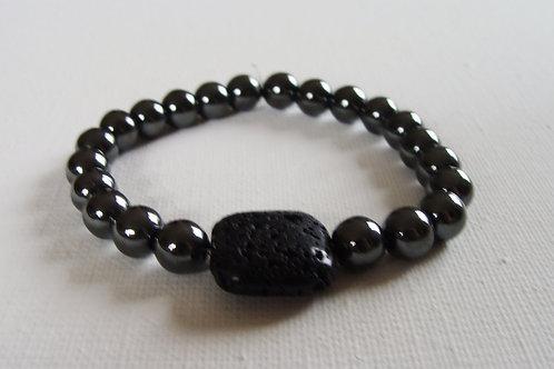 Bracelet homme en hématite et pierre de lave