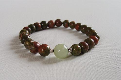 Bracelet homme en unakite/jade et argent