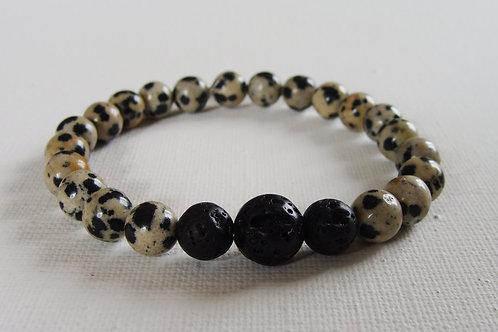 Bracelet homme en jaspe dalmatien et pierre de lave