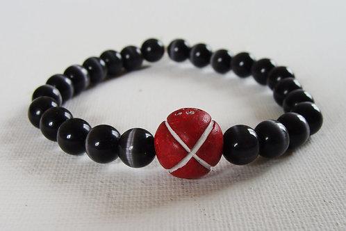 Bracelet homme en perles de verre et terre cuite