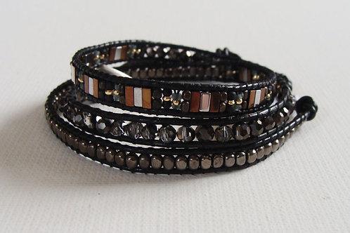 Bracelet 3 tours noir et argenté