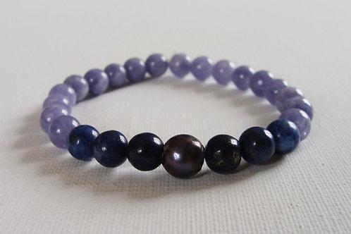 Bracelet homme en aigue marine : lapiz lazuli et perle d'eau douce
