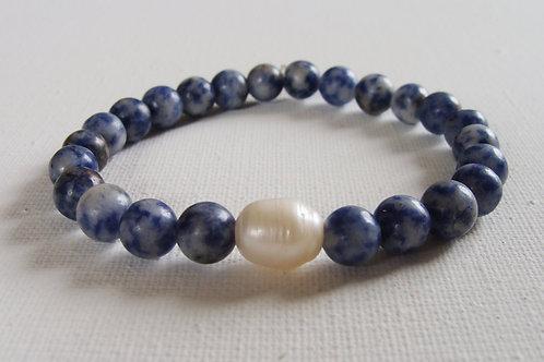 Bracelet homme en jaspe bleu et perle d'eau douce