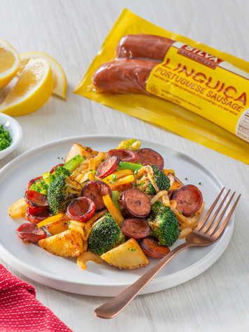 Sliced Linguica With Roasted Vegetables