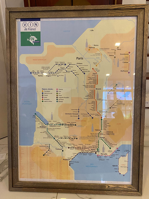 Framed Metro Wine Map of France large size (French edition)