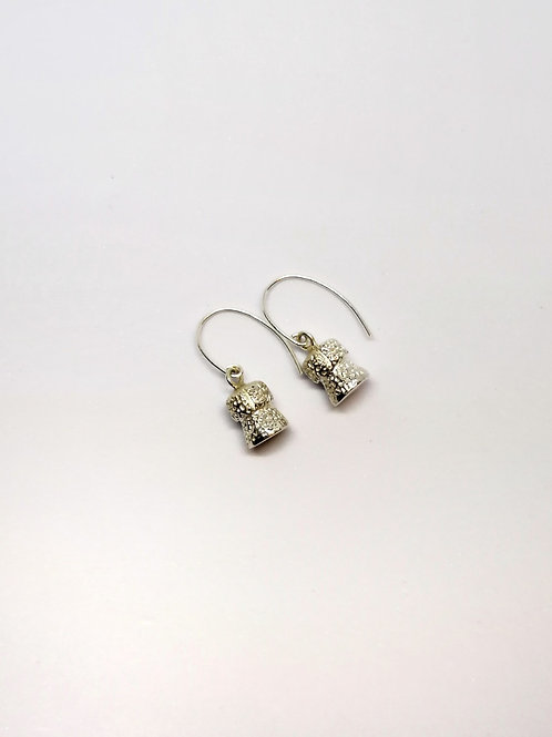 Champagne Cork silver earings