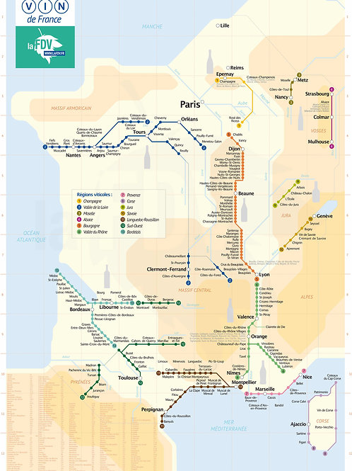 Metro Wine Map of France large size (French edition)