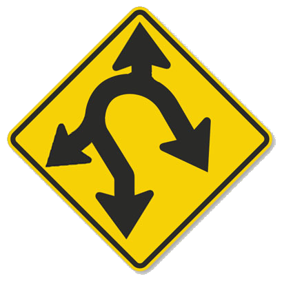 """Modified road sign with arrows going in four directions: methaphor for how """"side hustle"""" pulls employees in directions that are good for no one"""