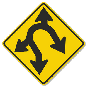"Modified road sign with arrows going in four directions: methaphor for how ""side hustle"" pulls employees in directions that are good for no one"