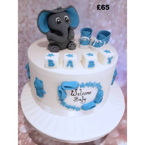 Blue with elephant 8 inch baby shower ca