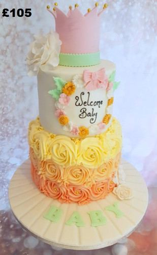 Rose swirl and pink crown baby shower ca