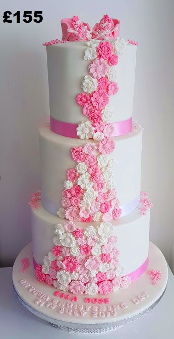 3 tier pink and white flower christening