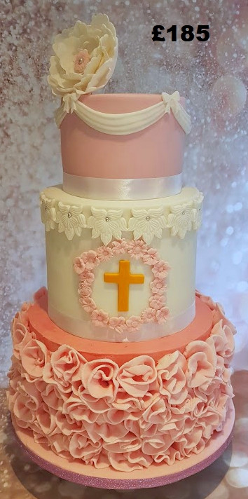 girls pink and white themed christening