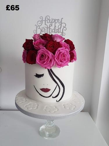 Pink and red rose birthday cake.jpg