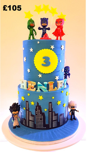 Boys 2 tier PJ Masks cake.jpg