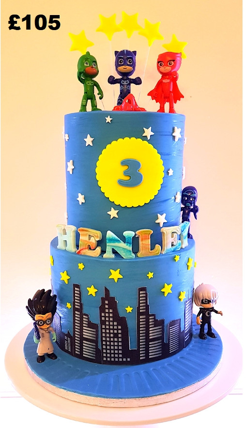 Boys 2 tier PJ Masks cake.jpg