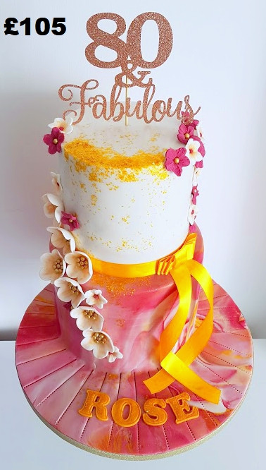 Gold and pinks 80th Birthday cake.jpg