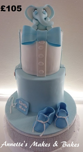 Boy Baby shower cake with elephant and b