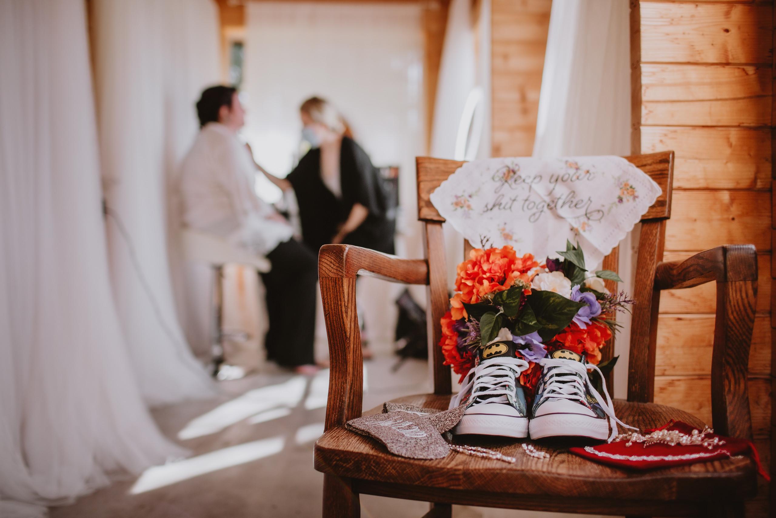 Bride gets ready, wedding details displayed.