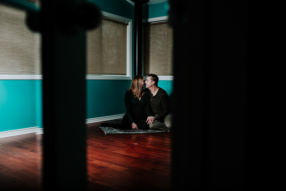 At-home engagement session in Selkirk, Manitoba.