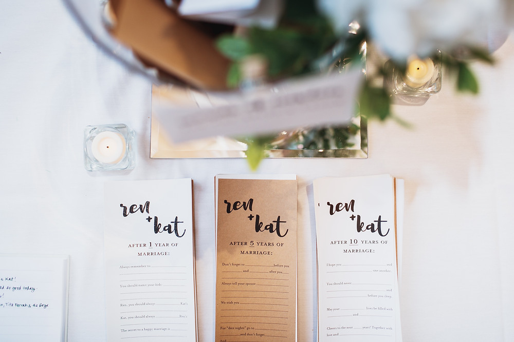 Have guests fill out advice cards for your wedding reception.
